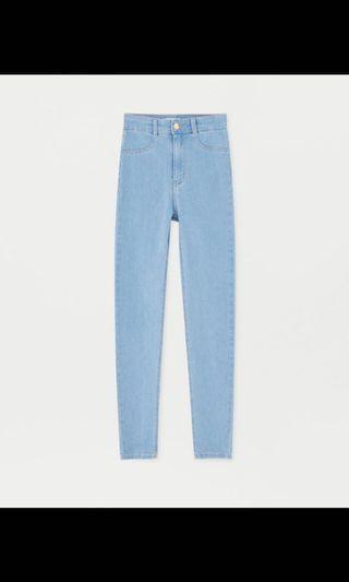 Pull and bear light blue denim highwaist jeans