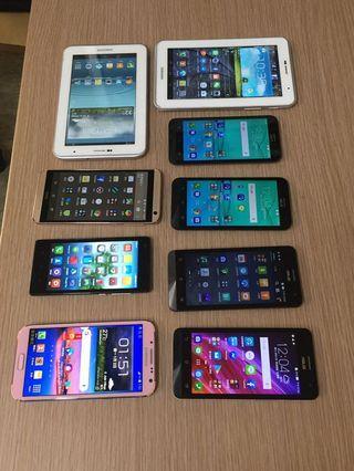 Samsung平板、手機HTC,ASUS ,小米手機