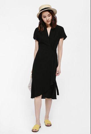 Love Bonito Chasmey Crossover Sash Dress in Black - S