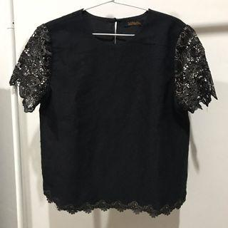 Black Lace Top / Blouse Hitam / Atasan Hitam Emas / Blouse Wanita / Blouse Trendy / Lace Blouse / Atasan Lace