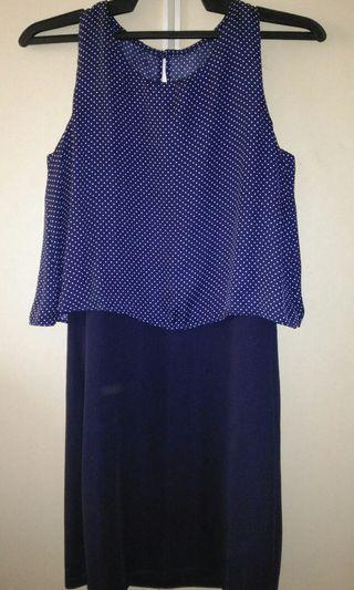 Deep blue polka dot sleeveless dress