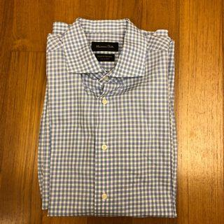 Massimo Dutti Men's Shirt (Size 41) - Blue Checkered