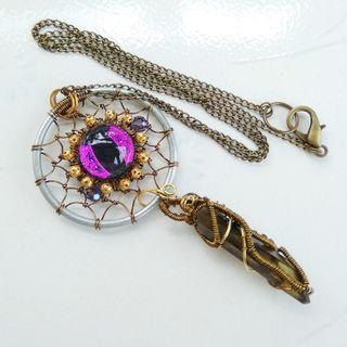 Purple Evil Eye Smoky Quartz Dream Catcher Pendant Wire Wrap Unisex Necklace