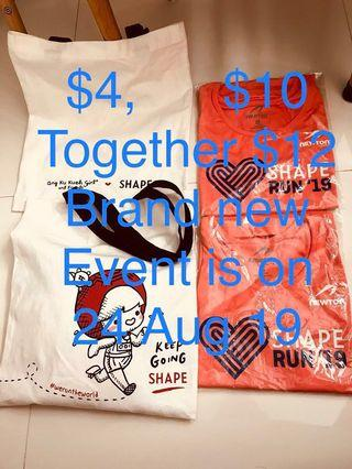 2019. Shape run tee shirt. Ang ku kueh girl. Tote bag