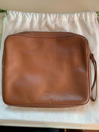 Longchamp brown calves skin clutch