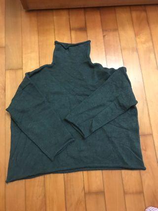 韓國灰色高領捲遍針織毛衣