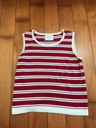 紅白條紋針織背心