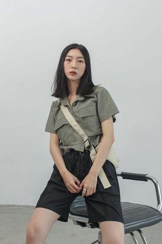 Orandorwear 水洗不修邊短襯衫 (墨黑)