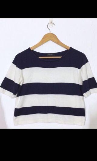 Meierq ❤️條紋上衣短袖 短袖T恤 針織 透氣