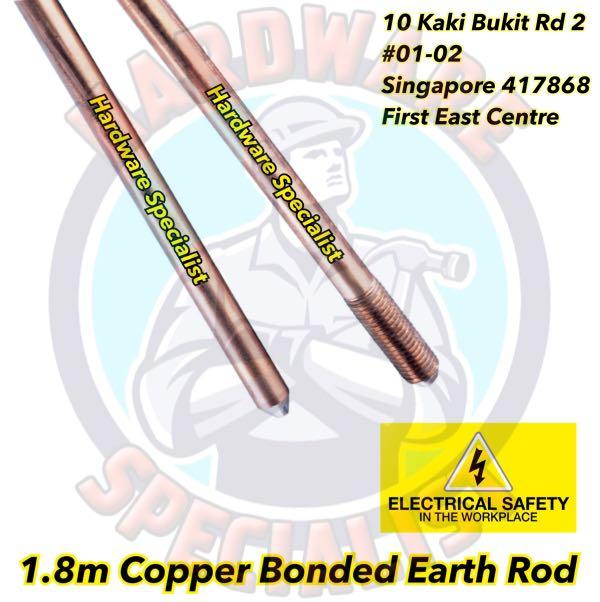 1 8m Copper Bonded Earth Rod / Grounding Rod on Carousell
