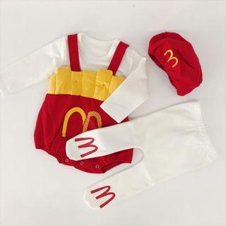 【嬰幼兒】可愛 趣味 搞笑 裝扮 造型 速食 沙龍 麥當勞 薯條 嬰兒 幼兒 童裝 包屁衣 吊帶褲 襪子 帽子 純棉