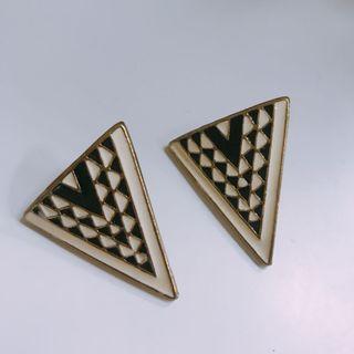格紋三角耳環