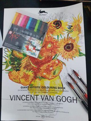 Koi Colouring Brush pen & Vincent Van Gogh Coloring Book