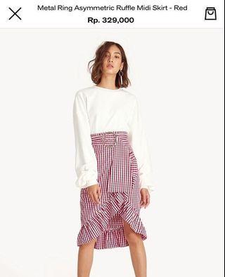 pomelo asymmetric ruffle midi skirt