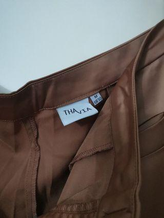 THAVIA Brown Satin Pants