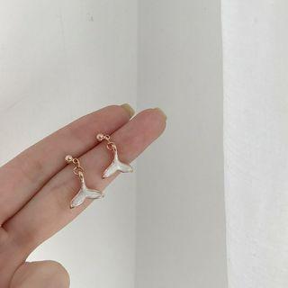超美 海豚魚尾耳針 耳釘 耳環