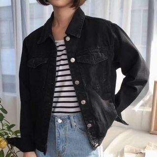 INSTOCK ♡ ulzzang black denim jacket