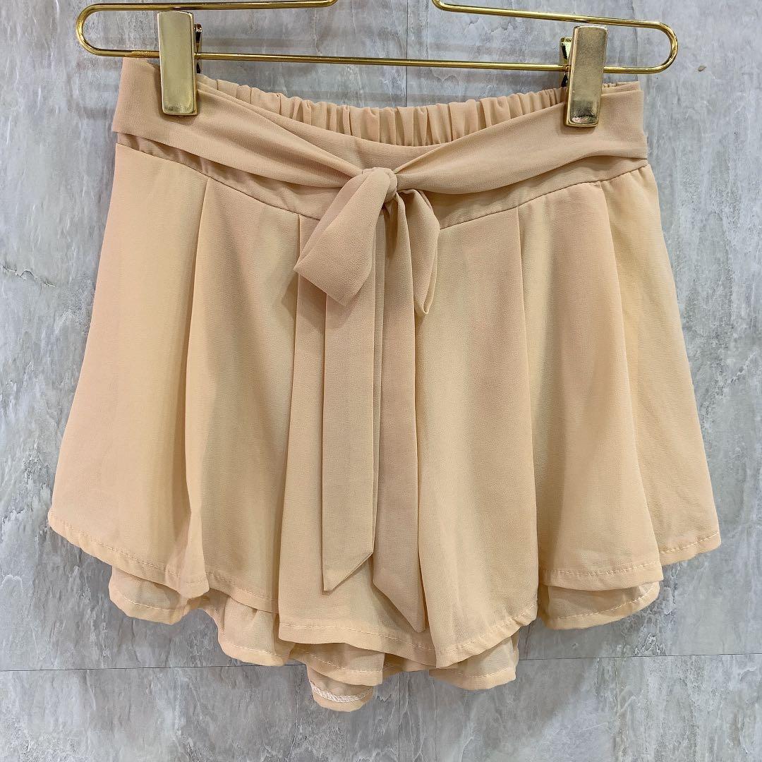 綁結雙層荷葉邊雪紡褲裙
