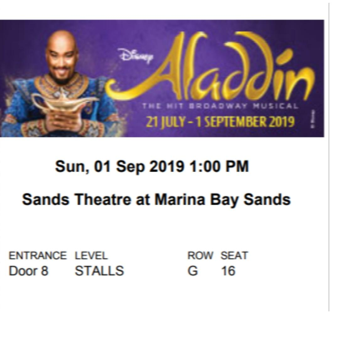 (Discounted Price) Aladdin at Marina Bay - VIP Tickets