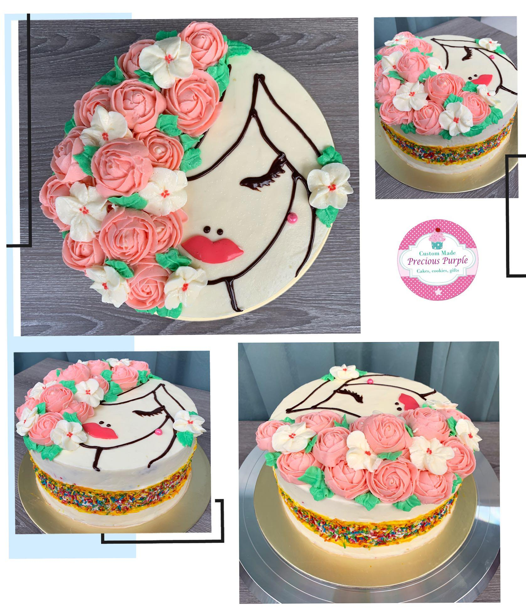 Astonishing Birthday Cake Ladies Flowers Buttercream Fault Line Cakes Funny Birthday Cards Online Sheoxdamsfinfo
