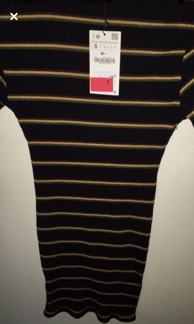 Black Zara dress with  red,yellow,and green stripes