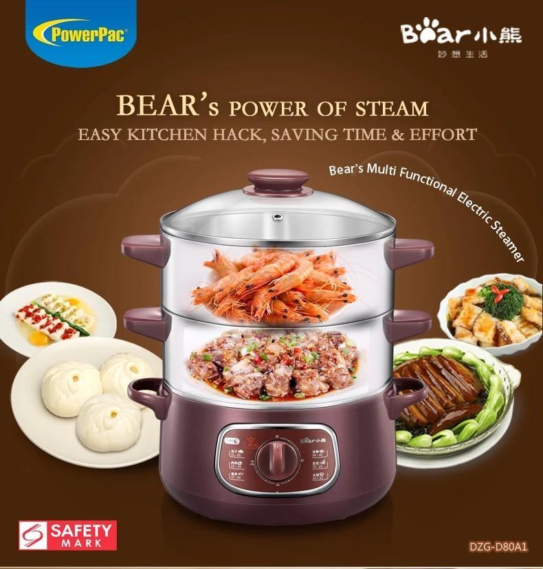 BN PowerPac BEAR 2 TIER INTELLIGENT ELECTRIC STAINLESS STEEL FOOD STEAMER 8.0L 800WATT