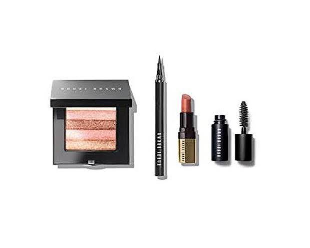 Bobbi brown instant glam set, quartz shimmer brick, mascara and eyeliner