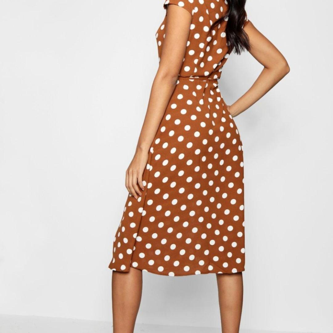 Boohoo Brown/White Polkadot Wrap A Line Midi dress