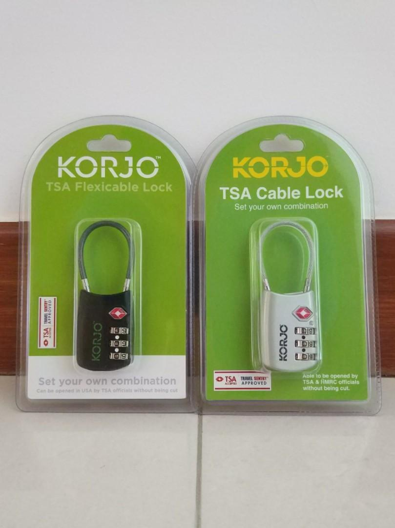 Brand New KORJO 3 Dial TSA Flex Cable Combination Luggage Lock / Padlock (Black or Silver) $16/piece