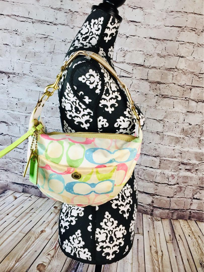 Coach Hampton Signature C Satin Multi-Color Pastel Tone Hobo Bag 132 Small