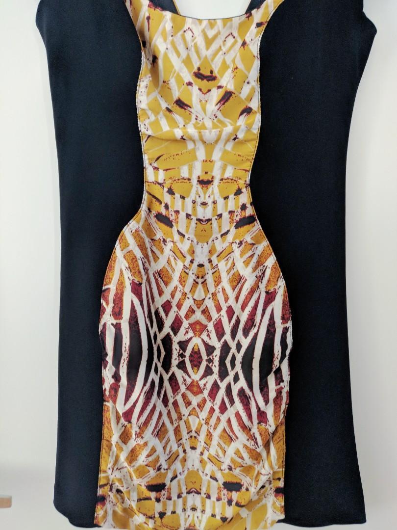 Cooper St Black Gold / Yellow Bodycon Dress AU Size 10
