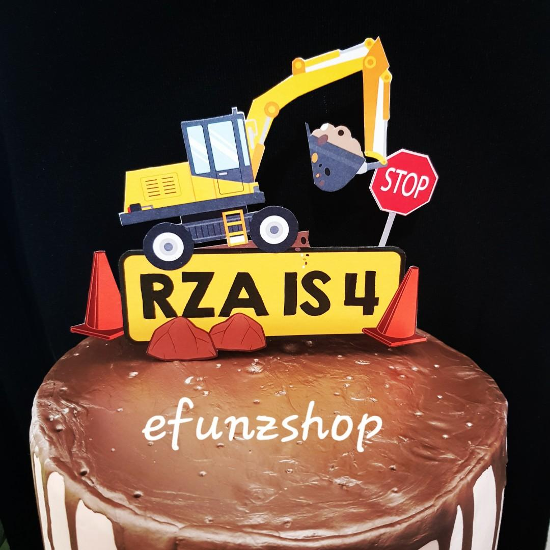 Super Excavator Construction Car Customized Name Birthday Cake Topper Funny Birthday Cards Online Alyptdamsfinfo