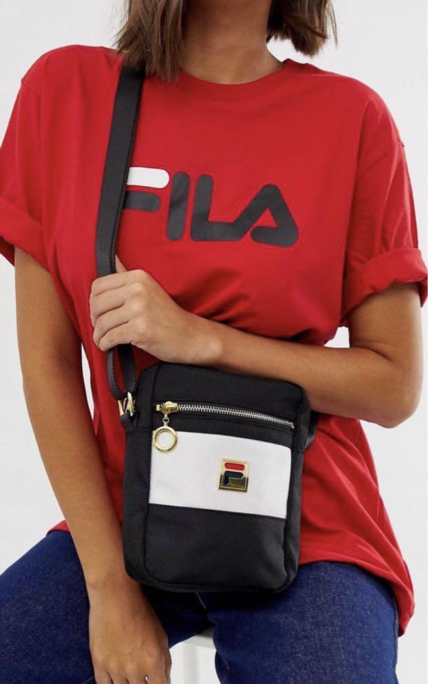 Fila Cleo Logo Cross Body Pouch in Mono Stripe Sling Bag