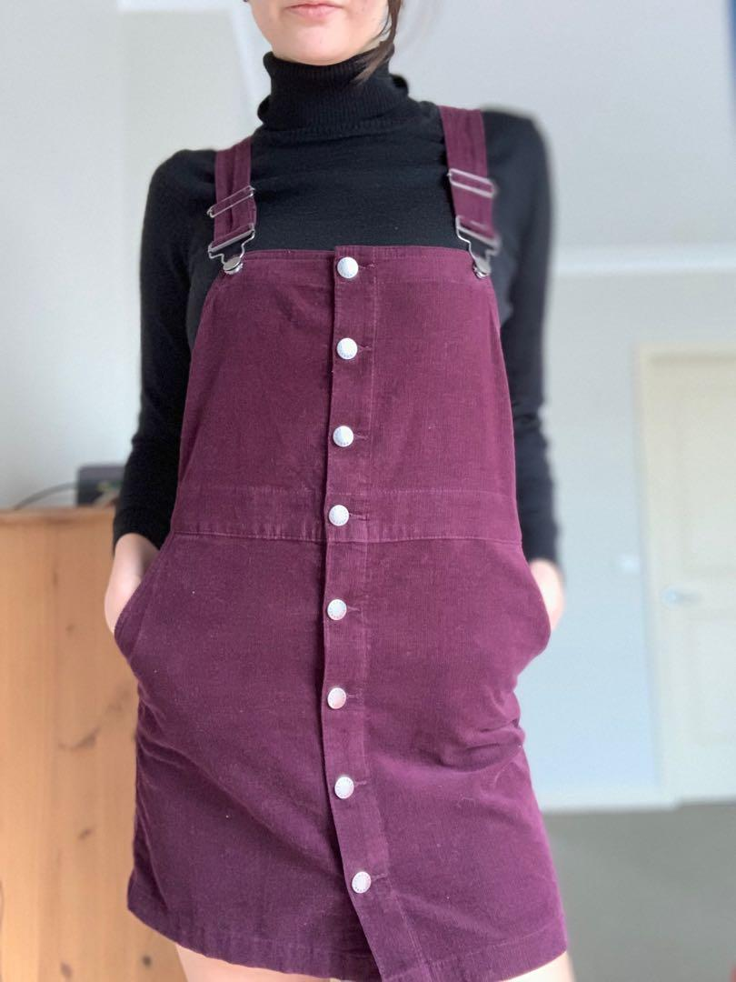 Ghanda pinafore button overall dress, burgundy/purple