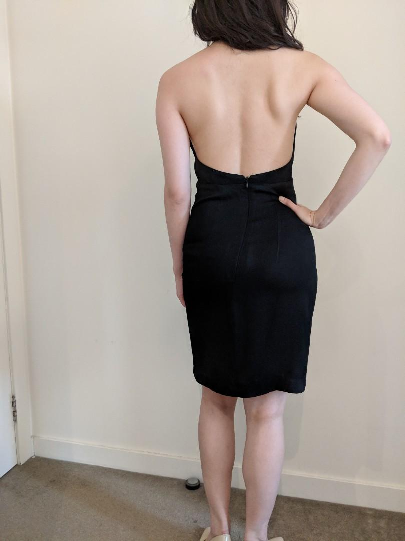 MNG Mango Premium Silky backless dress chest cut-out