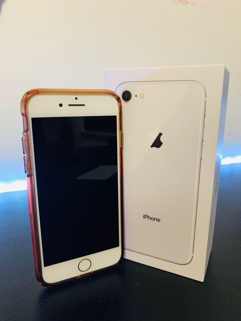 New Unlocked Silver iPhone 8 64GB w/Charger, Earbuds, Case & Box
