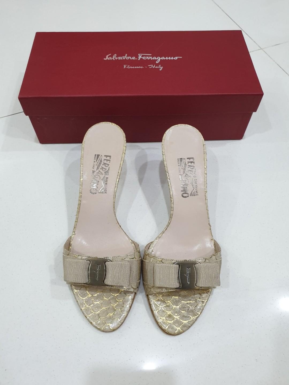 Salvatore Ferragamo Glory Gold Sandals