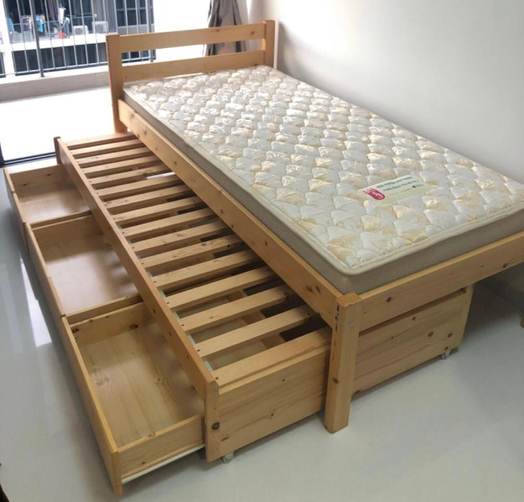 Picture of: Single Bed With Storage And Pull Out Furniture Beds Mattresses On Carousell