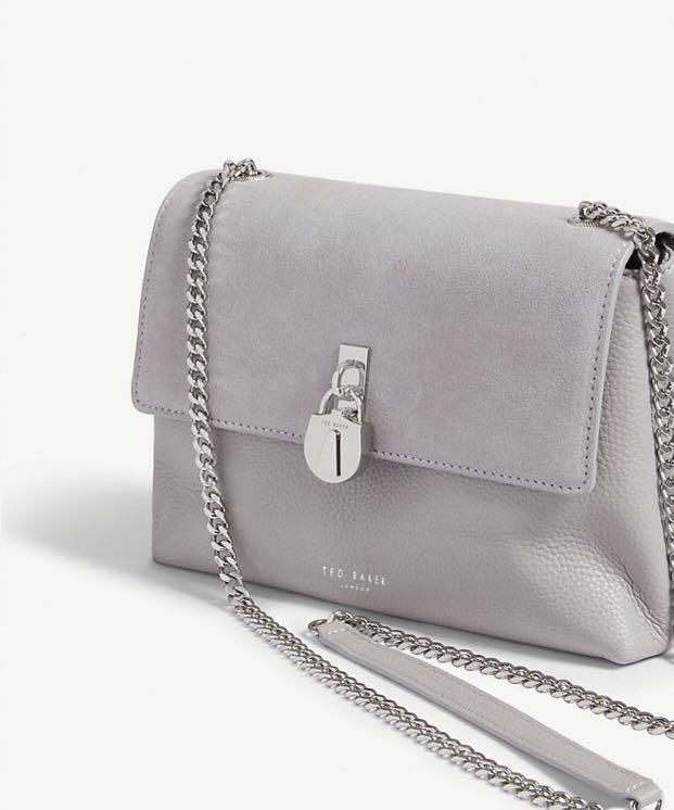 TED BAKER Helena suede and leather cross-body bag