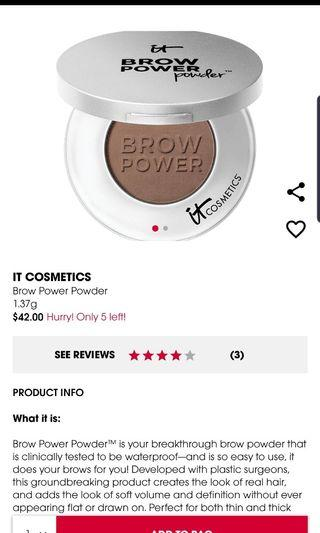 BNIB IT Cosmetics Brow Power Powder