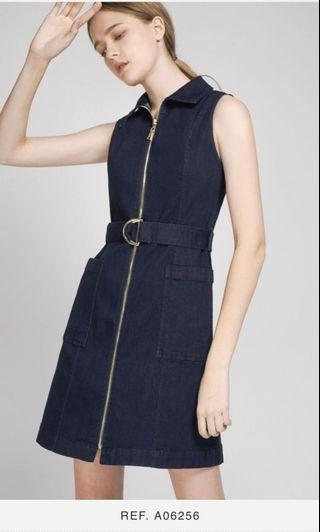 BNWT Saturday club zipper front belt denim dress