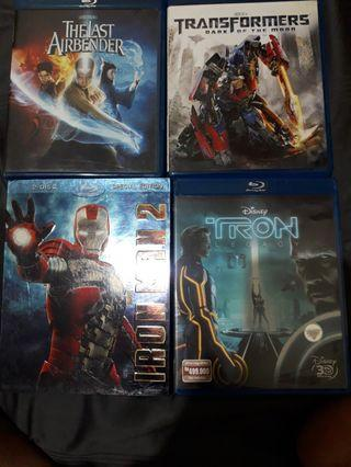 Blu-ray.fantastic4, the last airbender, transformers ,iron man 2 , tron legacy