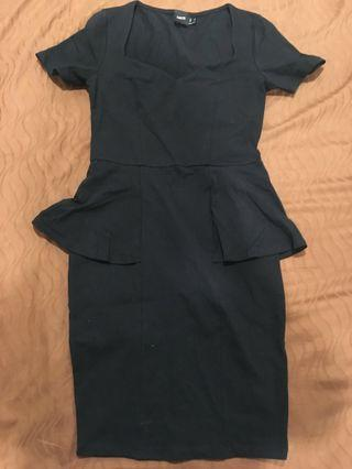ASOS-Black Peplum Dress