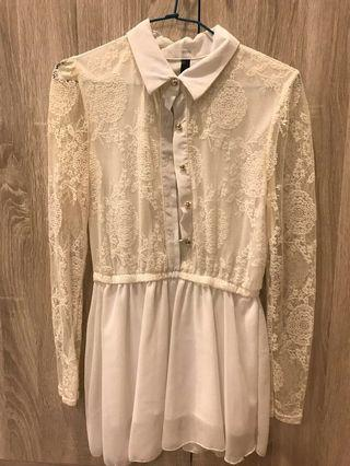 白色蕾絲傘狀下擺襯衫