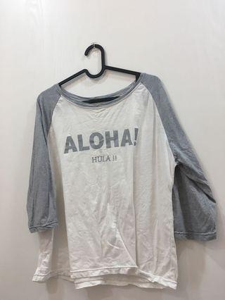白灰上衣 短上衣 七分袖T-shirt