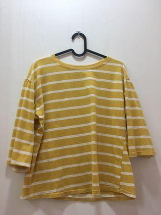 黃白條紋上衣 短版上衣 T-shirt