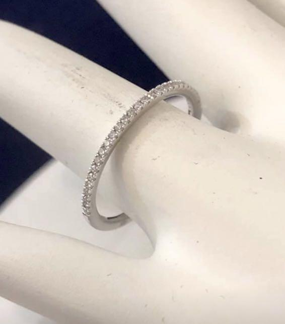 14k solid white gold diamond eternity wedding ring * Compare at $900+