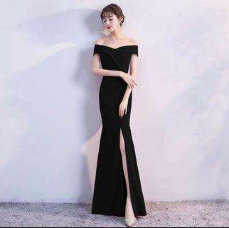 Off Shoulder Elegant Maxi Dinner Dress Dinner Grown - Black