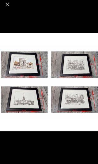 法國風情印畫9幅帶回台灣裱框,另3幅名人照,請專業畫廊錶框,裱框費已超過賣價,請自取