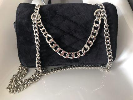 MNG (Mango) Handbag in Black Color with long chain